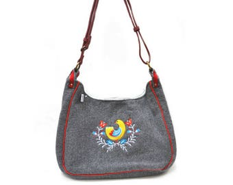 folk felted wool shoulder bag gray embroidered