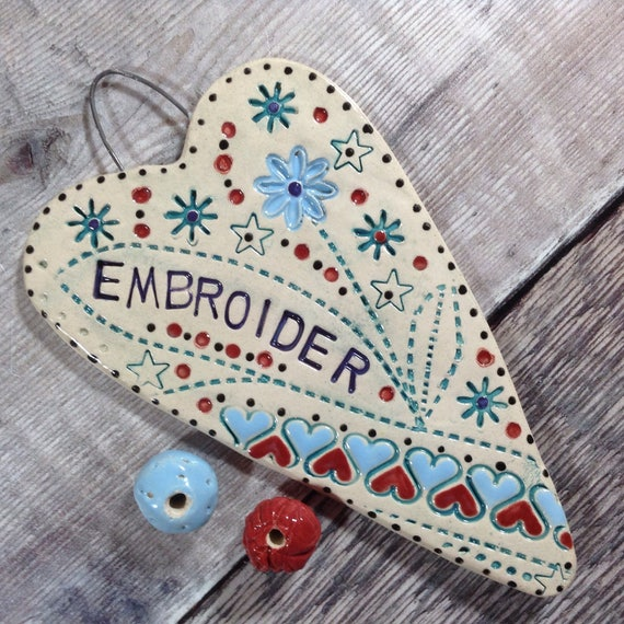 Handmade Ceramic Hanging Heart, patchwork theme, quilty heart, pattern, colour, folk art