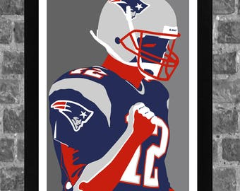 New England Tom Brady Portrait Sports Print Art 11x17