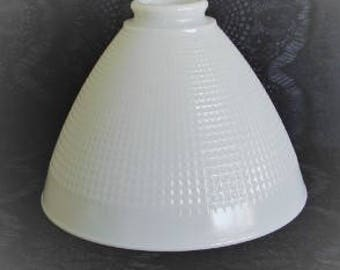 Vintage Milk Glass Torchiere Lamp Shade, Gride Design Milk Glass Lamp Shade, 6.5 in. tall. Vintage Lighting, Torchiere