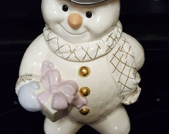 Cute Snowman Cookie Jar By Lenox