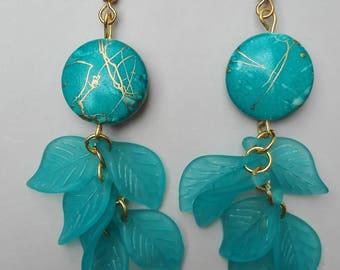 Earrings Golden & turquoise 8cm