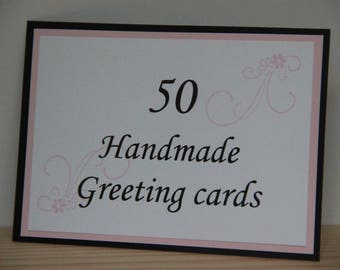 50 Handmade Greeting Card Set. Assortment Set of Greeting Cards. Blank Handmade Cards. Bulk Cards, Assortment.  Birthday, Thank You Cards