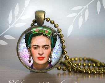 Frida Kahlo Necklace , Frida Kahlo, Photo image Jewelry, Mexican Artist, Women Artist, Art Jewelry, Mexico, Mexican, Altered Photography