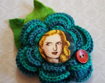 Pin Up Girl Covered Button Crochet Flower Corsage Pin in Green and Blue