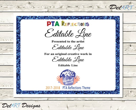 Pta reflections certificate 2017 2018 digital printable pdf pta reflections certificate 2017 2018 digital printable pdf files or editable pdfs certificate template within reach theme 85x11 inch yadclub Gallery