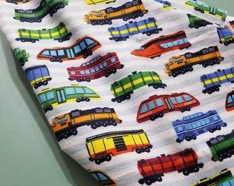 Train Flannel Swaddle Receiving  Blanket / Locomotive Nursery / Caboose Diesel Steam Engine / New Baby Boy Shower Gift