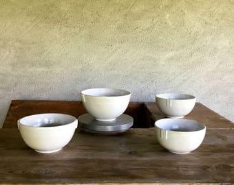 Ceramic salad bowl. Round-shaped satiny white stoneware Bowl. Soup Cup. Large white Bowl.
