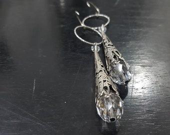 Snow tears - Clear crystal drops - Luxury Dangle earrings - Victorian Earrings - Bridal earrings