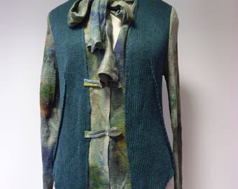 Sale. Extravagant green linen cardigan, XL size. Only one sample.