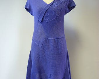 Casual handmade purple linen dress, M size.