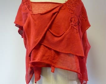 The hot price. Boho short coral linen blouse, L size.