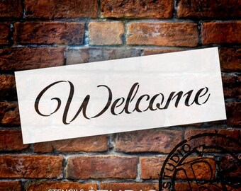 Welcome -Trendy Script - Word Stencil - Select Size - STCL1185 - by StudioR12
