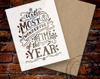 """SSKT005 Most Wonderful Time Of The Year - Stencil + Surface Kit - 12"""" x 18"""""""
