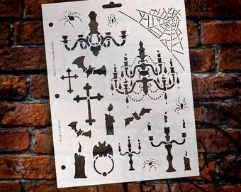 "Dracula's Castle Stencil -8.5"" x 11"" - STCL137 by StudioR12"