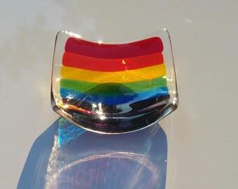 Rainbow Trinket Dish, Fused Glass, Ready to Ship, 9 x 9cm, Transparent Colours