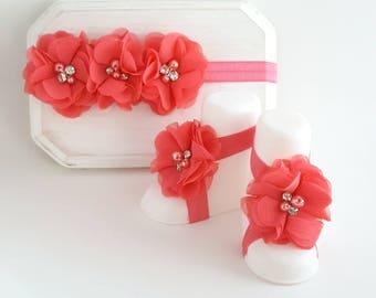 Coral Barefoot Sandals & Matching Headband Set - Newborn Photo Prop - Coral Cake Smash - Barefoot Baby Sandals - Coral Headband - Coral Bow