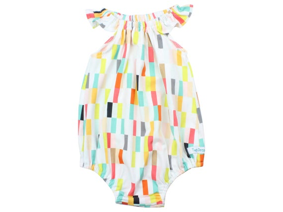 Baby Romper with Snaps Colorful Baby Romper Summer Geometric Romper Modern Romper Flutter Sleeve Romper Knit Romper Flavor of the Day