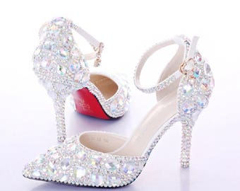 Crystals all over me. Pumps, heels for brides party