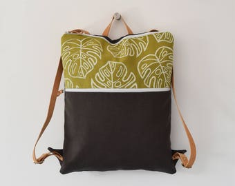 Backpack hand printed fabric with natural white monstera design backpack from city available on pre-order