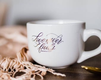 Love Never Fails Gold Foil mug