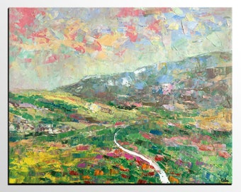 Oil Painting Landscape, Large Painting, Canvas Art, Mountain Landscape Painting, Canvas Oil Painting, Original Abstract Art, Large Wall Art