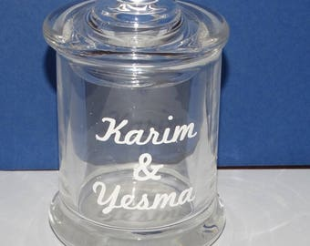 mini candy glass with inscription