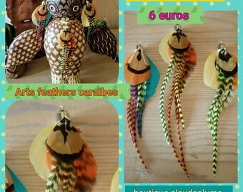 3 multicolored feather pendants