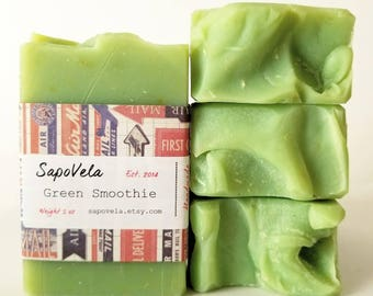 5oz Green Smoothie Soap, Vegan Soap, Palm Oil Free Soap, Handmade Gift