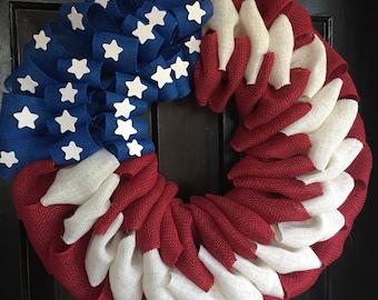 American flag burlap wreath