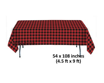 lumberjack plaid table cover, buffalo plaid party supplies, red flannel, rustic, birthday party, tablecloth, lodge, winter, outdoors