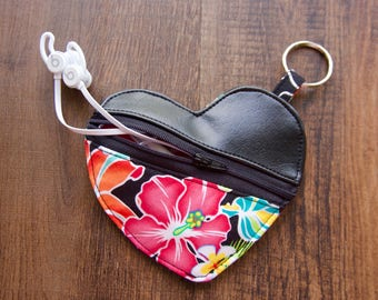 Mini zipper pouch, Earbud holder, zipper coin pouch, key chain coin pouch, handmade headphone holder