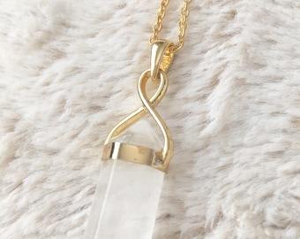 Quartz Necklace on Gold Chain