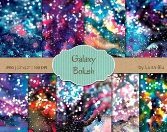 "Bokeh Digital Paper: ""Galaxy Bokeh"" galaxy digital paper, bokeh backgrounds, galaxy bokeh scrapbook paper, galaxy backgrounds, galaxy papers"