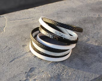 Designer jewelry - Multi-row leather cord Cuff Bracelet smooth and glossy effect reptile textured black white and silver plated lobster clasp magnet
