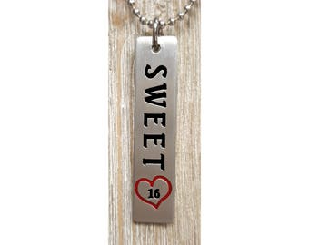 Sweet 16 Pendent w/ 24 inch 2.7mm ball chain  :  Engraved & Polished Pendent (not hand stamped)