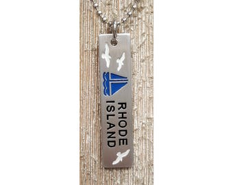 Rhode Island with Sailboat Pendent w/ 24 inch 2.7mm ball chain  :  Engraved & Polished Pendent (not hand stamped)