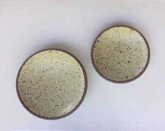 Ceramic Dip Dishes. Tiny Ceramic Plates. Set of Two Pottery Plates.