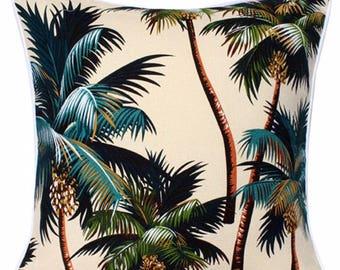 Cushion Tropical Palm Trees on Natural Cushions Coussin Coastal Beach Polynesian Island Hawaiian Barkcloth Cotton Interior Design Home Decor