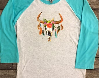 Take the Bull by the Horns Raglan Colorful feather top!