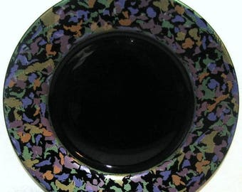 ON SALE Vintage Arcoroc luncheon plate Black with foil abstract rim