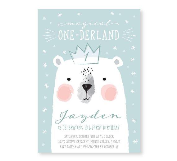 First Birthday Invitation Polar Bear Invite Polar Bear