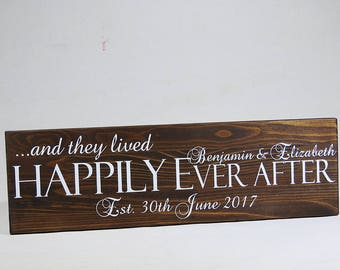 Top table decoration Rustic wood centre piece plaque Personalised Wedding sign anniversary plaque Happily ever after established sign
