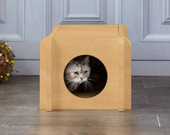 Mid-Century Modern Cat House Condo - Eco-Friendly Pet House - Natural Cat Furniture (PET-HOUSE-NL)