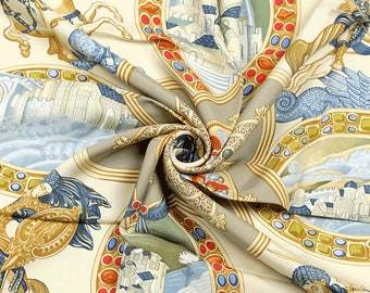 "HERMES SCARF Silk ""Le Triomphe du Paladin"" by Julia Abadie 90cm Carre 100% Auth"