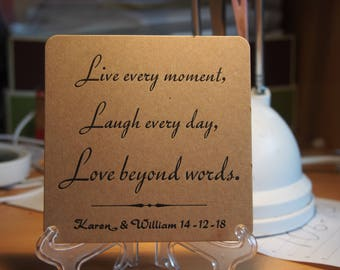 Live Every Moment Personalized Coasters x 100Live Every Moment Coasters X 100