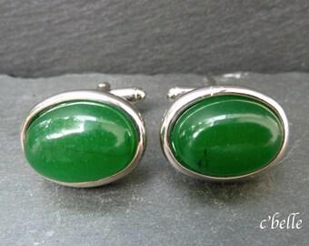 Cuff buttons Green Jade Ø 13 x 18 mm