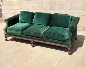 SOLD Antique Green Velvet Sofa, Vintage Upholstered Velvet Couch, Victorian  Sofa, Victorian Couch