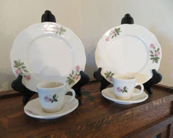 Buffalo China Rose Pattern Demitasse Cups, Saucers, and Plates - Set of 2