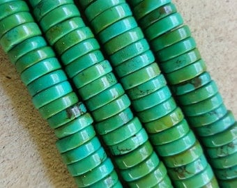 "Natural Sinkiang Turquoise Flat Round Heishi Beads, Dyed and Heated 10 x 3mm - 15.75"" Strand"